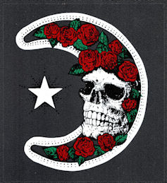 ##MUSICBP2026 - Grateful Dead Car Window Tour Sticker/Decal - Moon and Roses and Skull