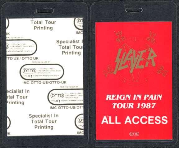 ##MUSICBP0748  - 1987 Slayer Laminated Backstage Pass for the Reign in Pain Tour