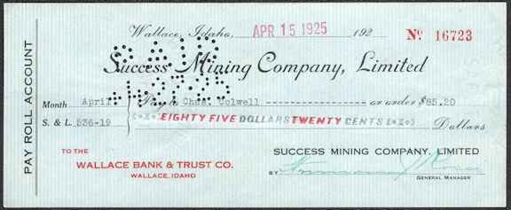 #ZZZ196 - Mid 1920s Success Mining Company Check - Wallace, ID