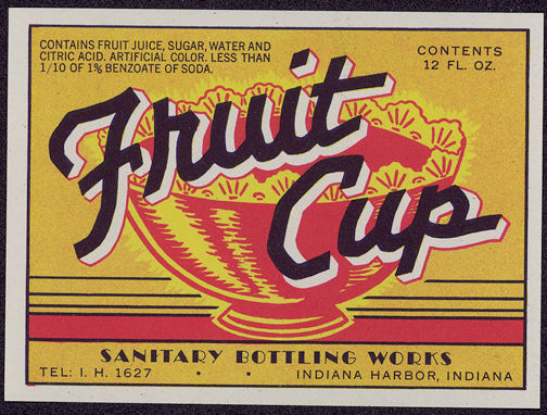 #ZLS123 - Sanitary Brand Fruit Cup Soda Bottle Label