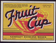 #ZLS123 - Sanitary Brand Fruit Cup Soda Bottle Label