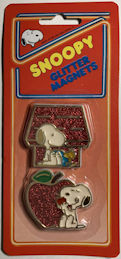 #CH437 - Two Snoopy Glitter Magnets in Original Package