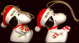 #CH417 - Pair of Different Licensed Snoopy Merry Christmas 1977 Porcelain Ornaments - Japan