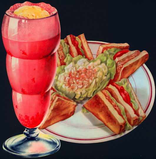 #SIGN188 - Diecut Diner Lunch Sign with Strawberry Milk Shake and Sandwiches - As low as 50¢ each