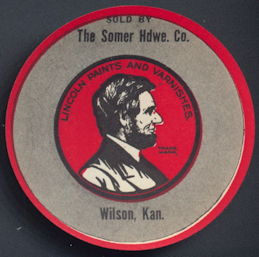 #CH381 -  The Somer Hardware Company Label/Sticker/Decal Picturing Abraham Lincoln
