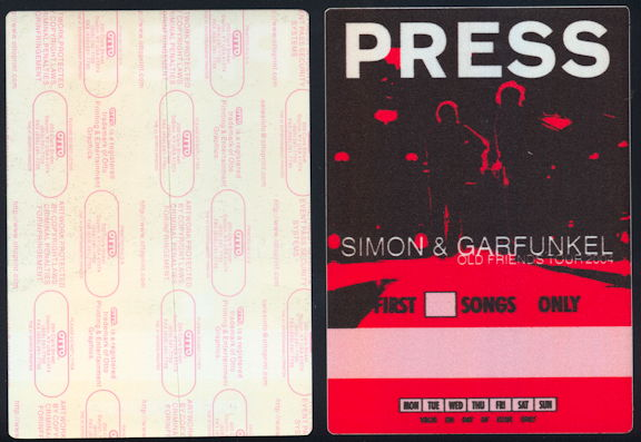 ##MUSICBP0422 - Huge Oversize Simon and Garfunkel First Song Only Backstage Press Pass from the 2004 Old Friends Reunion Tour