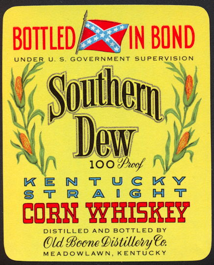 #ZLW139 - Group of 12 Southern Dew Corn Whiskey Labels with Confederate Flag - Yellow Version