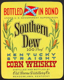 #ZLW139 - Southern Dew Corn Whiskey Label with Confederate Flag - Yellow Version