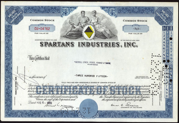 #ZZCE055 - Spartans Industries, Inc. Stock Certificate