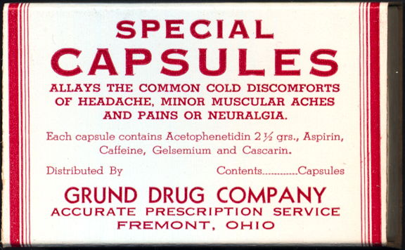 #CS395 - Large Special Capsules Slide Drawer Box from the Grund Drug Company in Fremont, Ohio