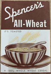 #CS063 - Group of 12 Spencer's All-Wheat Cereal Boxes