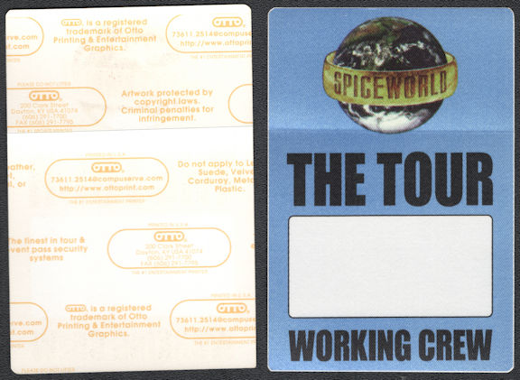 ##MUSICBP0652 - Spice Girls OTTO Cloth Backstage Pass from the 1998 Spiceworld Tour