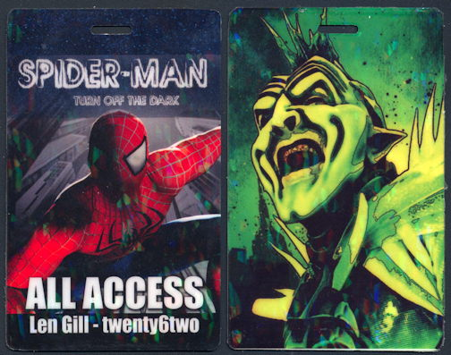 "#CH359 - Spider-Man ""Turn off the Dark"" Broadway Production OTTO Pass - As low as $2 each"