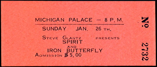 ##MUSICBP0222 - 1975 Spirit and Iron Butterfly Ticket from the Michigan Palace