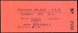 ##MUSICBPT0025 - 1975 Spirit and Iron Butterfly Ticket from the Michigan Palace