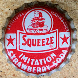 #BC214 - Group of 3 Rare Cork Lined Squeeze Strawberry Soda Cap with Kids Sitting on a Bench Pictured