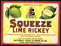 #ZLS132 - Rare Early Squeeze Lime Rickey Soda Bottle Label