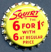 #BC152 - Group fo 10 Cork Lined Squirt 6 for 1¢ Soda Bottle Caps