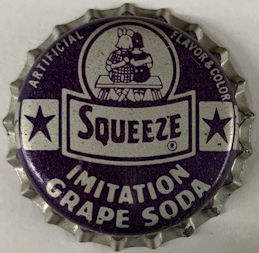#BC208 - Group of 3 Rare Cork Lined Squeeze Grape Soda Cap with Kids Sitting on a Bench Pictured