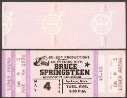 ##MUSICBPT0002 - 1976 Unused Bruce Springsteen Born to Run Concert Ticket - Mississippi Coluseum