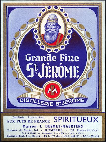 #ZLW152 - Grande Fine St. Jerome French Spirits Bottle Label