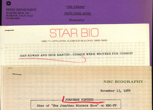 #CH314 - Television Network Press Releases and Star Biographies