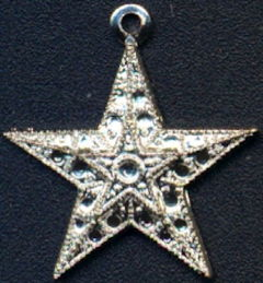#BEADS0289 - Group of 10 Chromed Metal Star Charms