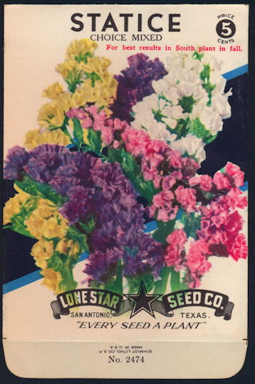 #CE030 - Mixed Statice Lone Star 5¢ Seed Pack - As Low As 50¢ each