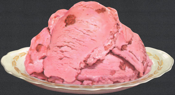 #SIGN235 - Diecut Diner Sign of Strawberry Ice Cream on a Plate
