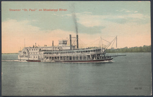 #ZZZ135 - Unused Steamboat Postcard - Steamer St. Paul on Mississippi River - As low as $1 each