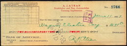 #ZZZ171  - Check from a 1927 Studebaker and Star Automobile Dealership - Star Auto is rare