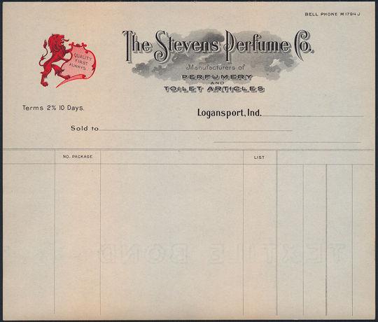 #ZZZ129 - The Stevens Perfume Company Unused Letterhead