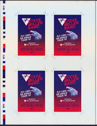 ##MUSICBG0085  -  Rare Uncut Laminate Pass Sheet for Steve Miller Band  Fly Like an Eagle Tour - As low as $10 each