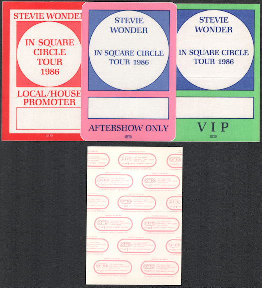 ##MUSICBP0592  - Group of 3 Different 1986 Stevie Wonder OTTO Cloth Backstage Passes from the In The In Square Circle Tour
