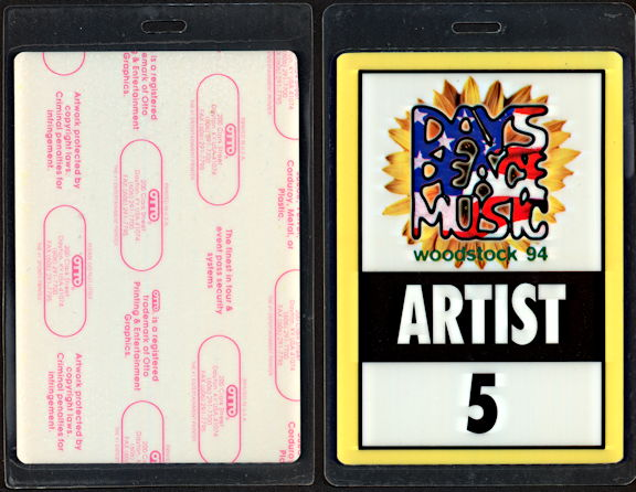##MUSICBP0490 - 1994 Woodstock Festival OTTO Laminate Backstage Artist Pass