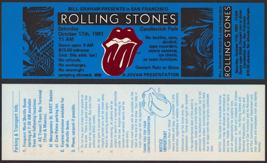 ##MUSICBP0148 - Blue Rolling Stones Ticket for the Concert at Candlestick Park on Oct 17th 1981 - As low as $2.50