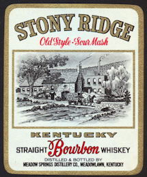 #ZLW021 - Stony Ridge Sour Mash Kentucky Bourbon Whiskey Label