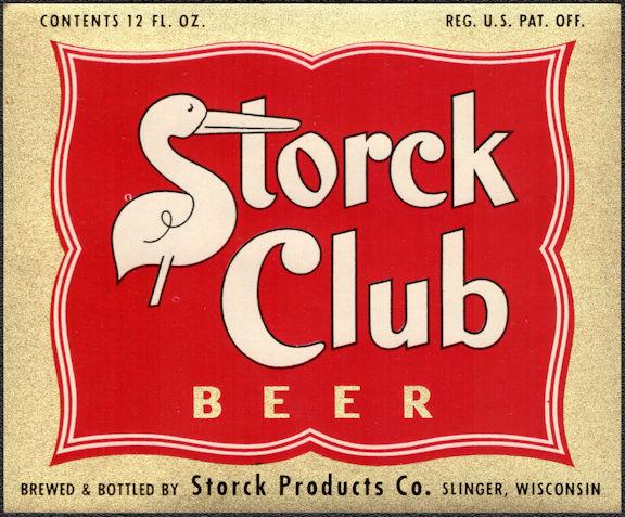 #ZLBE126 - Very Rare Storck Club Beer Bottle Label - Slinger, Wisconsin