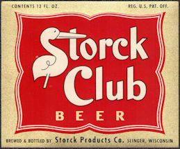 #ZLBE126 - Very Rare Storck Club Beer Bottle Label - Slinger, Wisconsin