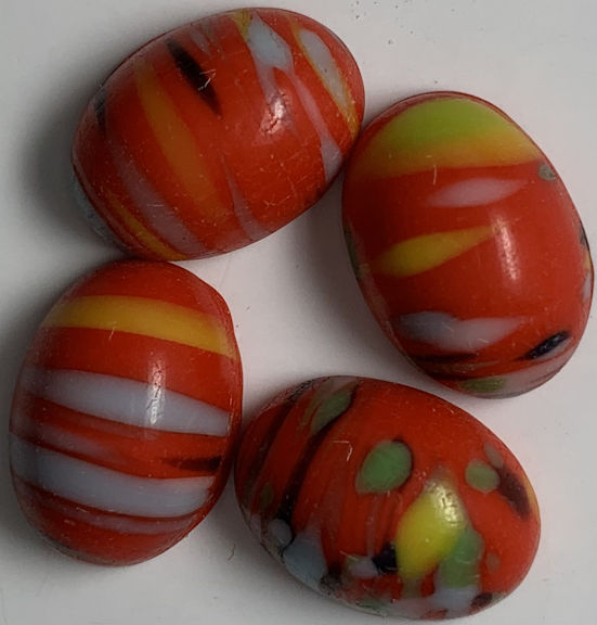 #BEADS0914 - Group of 4 Orangish Red Base 14mm Glass Cabochons with Stripes and Color Patches