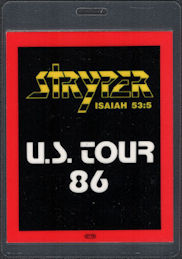 ##MUSICBP0845 - Stryper OTTO Laminated Backstage Pass from the 1986 To Hell with the Devil Tour