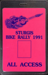 ##MUSICBP0879 - Super Rare Sturgis Festival OTTO Laminated All Access Backstage Pass from 1991 - Steppenwolf, Doobie Brothers - Glows Under Blacklight