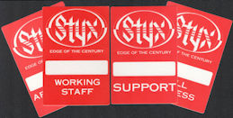 ##MUSICBP0593  - Group of 4 Different 1990 Styx Cloth OTTO Backstage Pass from the Edge of the Century Tour