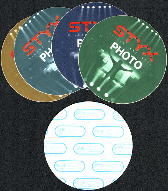 ##MUSICBP0747  - Group of 4 different Colored 1983 Styx OTTO Backstage Photo Passes from the Kilroy was Here Tour