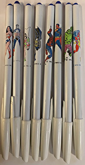 #CH430 - Complete Set of 8 Different 1978 DC Comics Superhero Pens