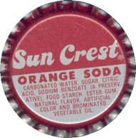 #BC055  - Group of 10 Sun Crest Orange Soda Plastic Lined Caps