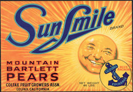 #ZLC461 - Sun Smile Mountain Bartlett Pears Crate Label
