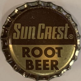 #BC194 - Group of 10 Plastic Lined Sun Crest Root Beer Soda Bottle Cap
