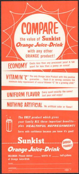 #DA109  - Sunkist Orange Juice Insert Sheet The Went in a Milk Box