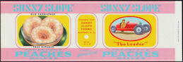 #ZLCA297 - Sunny Slope Freestone Peach Halves Can Label - Pictures Boy in Soap Box Derby Car